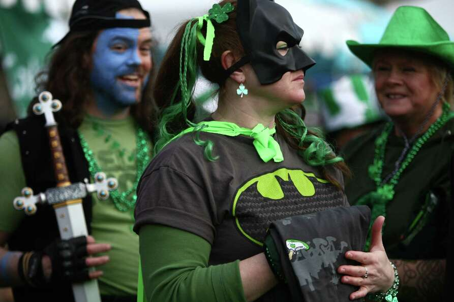 Costumed participants near the finish line during the St. Patrick's Day Dash in downtown Seattle. Th