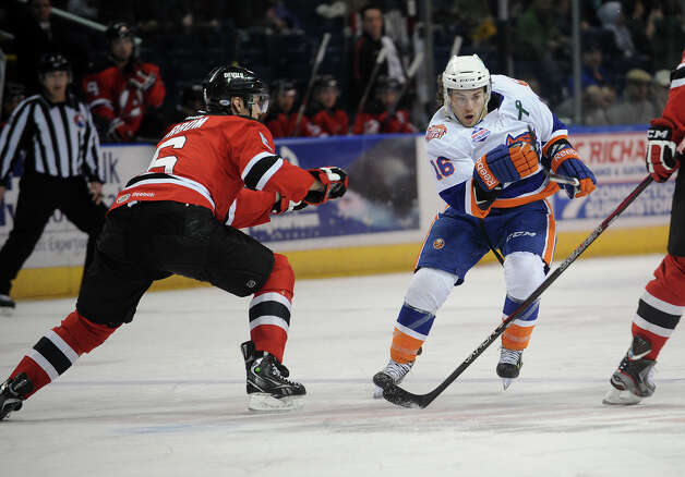 Bridgeport Sound Tigers v. Albany AHL hockey matchup at the Webster Bank Arena in Bridgeport, Conn. on Sunday, March 17, 2013. Photo: Brian A. Pounds / Connecticut Post