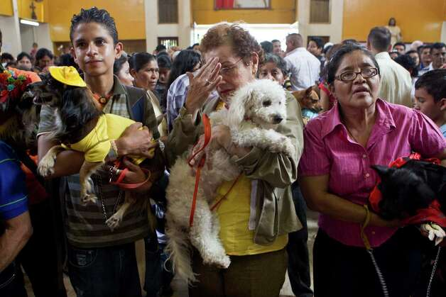 A woman makes the sign of the cross as she holds her dog during an animal blessing ceremony in honor of Saint Lazarus, patron of the sick, at a church in the Monimbo neighborhood of Masaya, Nicaragua, Sunday, March, 17, 2013. Catholics in Nicaragua associated Saint Lazarus with dogs, and dress up their pets for a Catholic blessing, asking the saint to keep their dogs healthy. Photo: Esteban Felix, Associated Press / AP