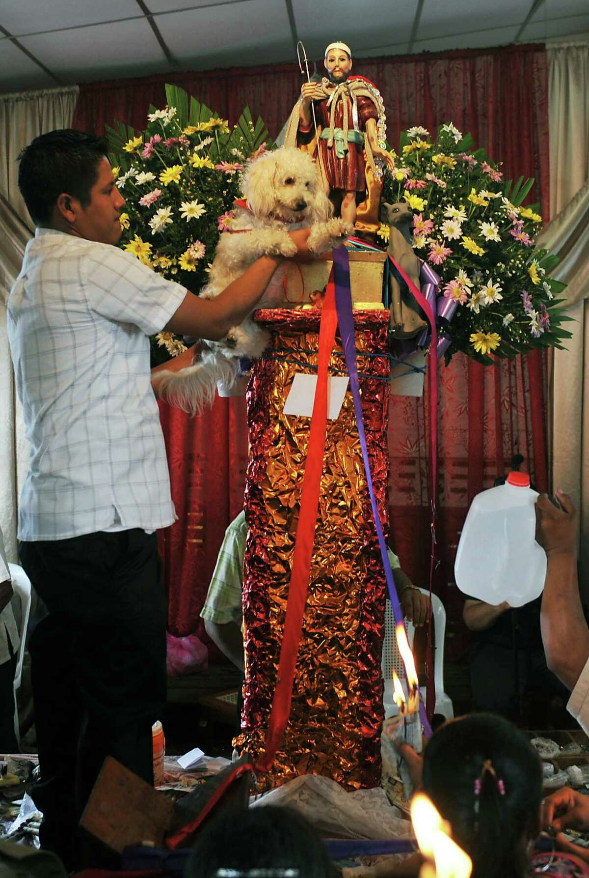 A parishioner holds a dog in front of the image of San Lazaro, during a mass in his honor, on March 17, 2013, in Monimbo neighborhood, in Masaya, 30km south of Managua. According to tradition in Nicaragua, faithfuls ask for the health of their dogs at San Lazaro and they pay these favors back bringing them dressed in costumes to attend mass in honor of the saint.