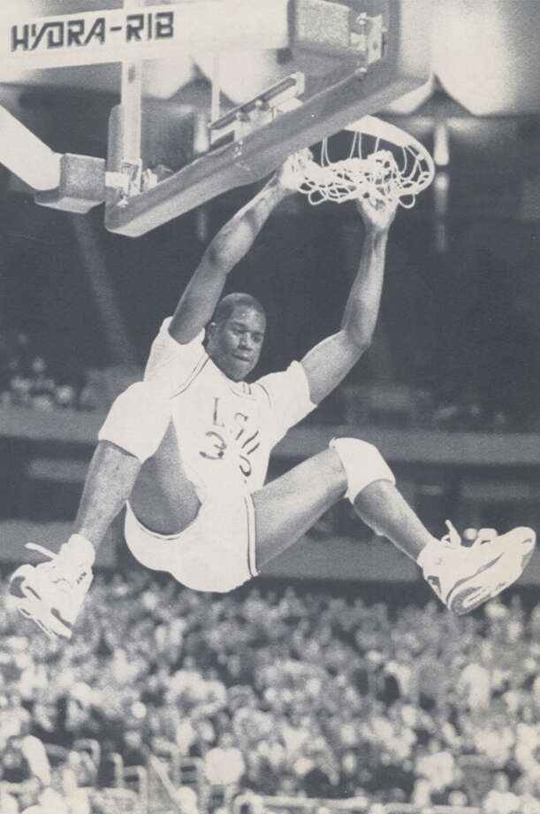 Over the years, former San Antonio high school players like Shaquille O'Neal have appeared in the NCAA tournament. O'Neal, throwing down a dunk in the 1991 tournament, played for Cole High School and LSU. The following local players are in this year's tournament. Photo: BILL WAUGH, ASSOCIATED PRESS / ASSOCIATED PRESS
