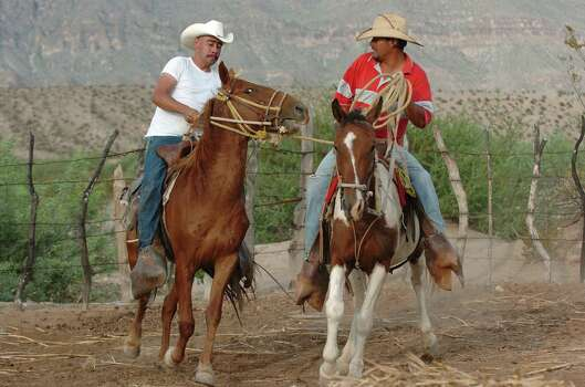 With the help of Jaime Davila, 26, right, Servando Ureste, 24, left, breaks a horse in Boquillas del Carmen, Mexico on Wednesday, July 21, 2004. Although Ford pickup trucks are used in the area, horses and burros are valuable because gasoline is hard to get in this isolated town across the Rio Grande from Big Bend National Park. Food and supplies used to be across the river in the U.S. side but that changed when the border was closed in reaction to the Sept. 11 attacks. Now people have to travel around 170 miles on rough roads. Photo: JERRY LARA, San Antonio Express-News / SAN ANTONIO EXPRESS-NEWS
