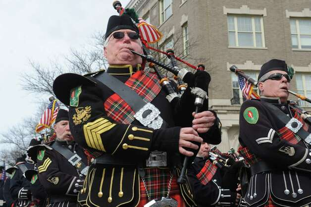Westchester Fire Fighters pipes & drums marched in GreenwichâÄôs 39th annual St. PatrickâÄôs Day parade at Greenwich Avenue, in Greenwich, Conn., March 17, 2013. Photo: Helen Neafsey / Greenwich Time