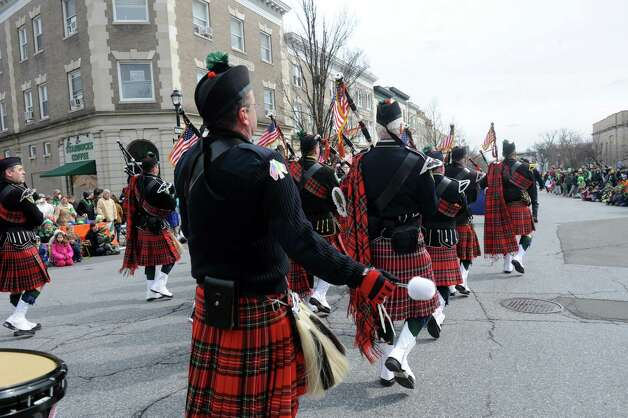 Westchester fire Fighters Pipes & Drums march at the GreenwichâÄôs 39th annual St. PatrickâÄôs Day parade at Greenwich Avenue, in Greenwich, Conn., March 17, 2013. Photo: Helen Neafsey / Greenwich Time
