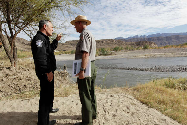 Customs and Border Protection Commissioner Alan Bersin talks with Big Bend National Park Superintendent William Wellman at the former international crossing at Boquillas del Carmen, Mexico, in the park, Thursday, Jan. 6, 2011. The crossing was closed in May 2002 in reaction to the Sept. 11 attacks. Photo: JERRY LARA, San Antonio Express-News / glara@express-news.net