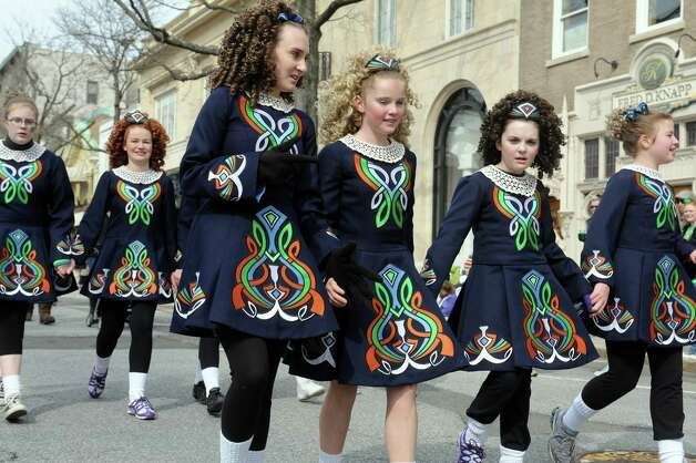 Anam Cara Irish Dance School's dancers at the GreenwichâÄôs 39th annual St. PatrickâÄôs Day parade at Greenwich Avenue, in Greenwich, Conn., March 17, 2013. Photo: Helen Neafsey / Greenwich Time