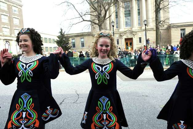 Anam Cara Irish Dance School dancers at the GreenwichâÄôs 39th annual St. PatrickâÄôs Day parade at Greenwich Avenue, in Greenwich, Conn., March 17, 2013. Photo: Helen Neafsey / Greenwich Time