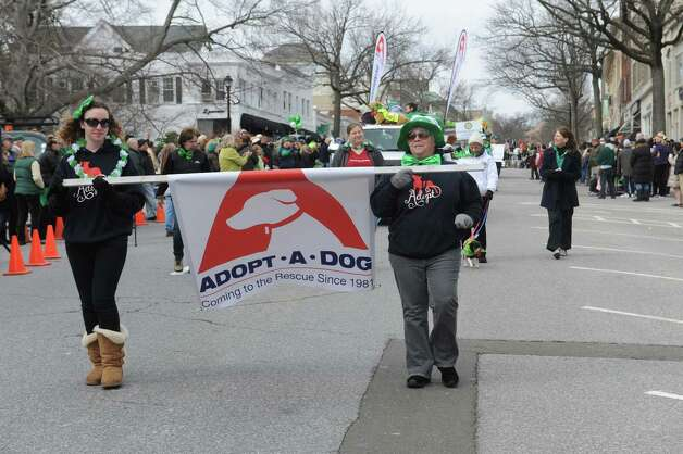 Samantha and her mother Allyson Halm, president of Adopt-A-Dog, march at  the GreenwichâÄôs 39th annual St. PatrickâÄôs Day parade at Greenwich Avenue, in Greenwich, Conn., March 17, 2013. Photo: Helen Neafsey / Greenwich Time