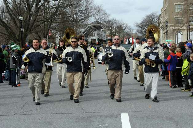 The Tappanzee Bridgemen Band marching in the GreenwichâÄôs 39th annual St. PatrickâÄôs Day parade at Greenwich Avenue, in Greenwich, Conn., March 17, 2013. Photo: Helen Neafsey / Greenwich Time