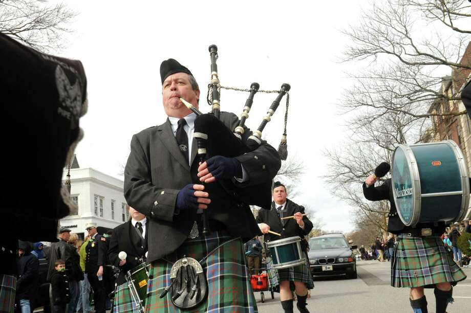 Fairfield Gaelic Pipes & Drums in the GreenwichâÄôs 39th annual St. PatrickâÄôs Day parade at Greenwich Avenue, in Greenwich, Conn., March 17, 2013. Photo: Helen Neafsey / Greenwich Time