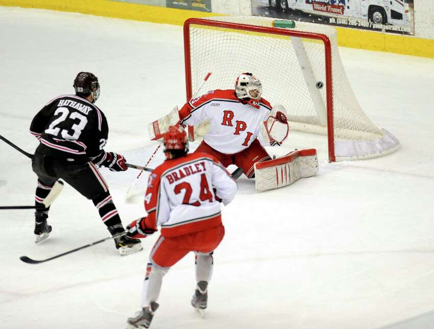 Rensselaer Polytechnic Institute Goalie Jason Kasdorf reacts as shot by Brown University's Garnet Hathaway (23) scores during the first period of a ECAC college hockey game in Troy N.Y., Sunday, March 17, 2012. (Hans Pennink / Special to the Times Union) College Sports.