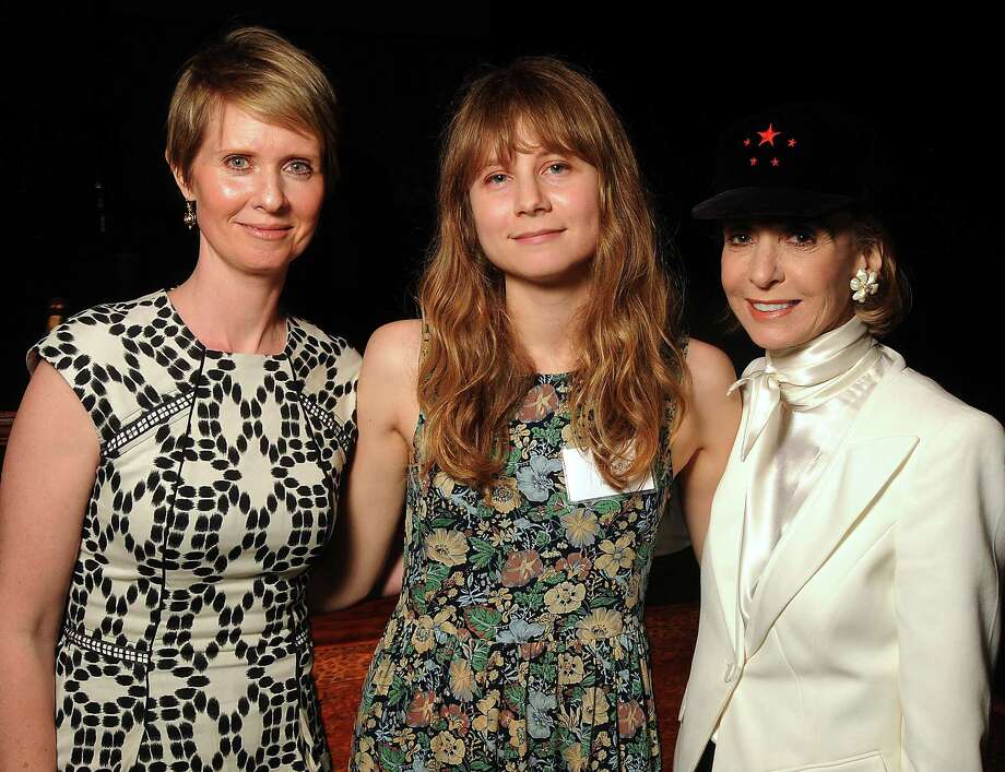 Annie Baker, center, won the Susan Smith Blackburn Prize, presented by Cynthia Nixon, left. Emilie Kilgore, right, is the sister of the award's namesake. Photo: Dave Rossman, Freelance / © 2013 Dave Rossman
