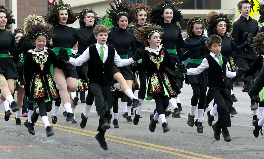 The O'Riada McCarthy Manning Academy of Dance went airborn during the Kansas City Saint Patrick's Day Parade, Sunday, March 17, 2013.  Photo: Fred Blocher, Associated Press
