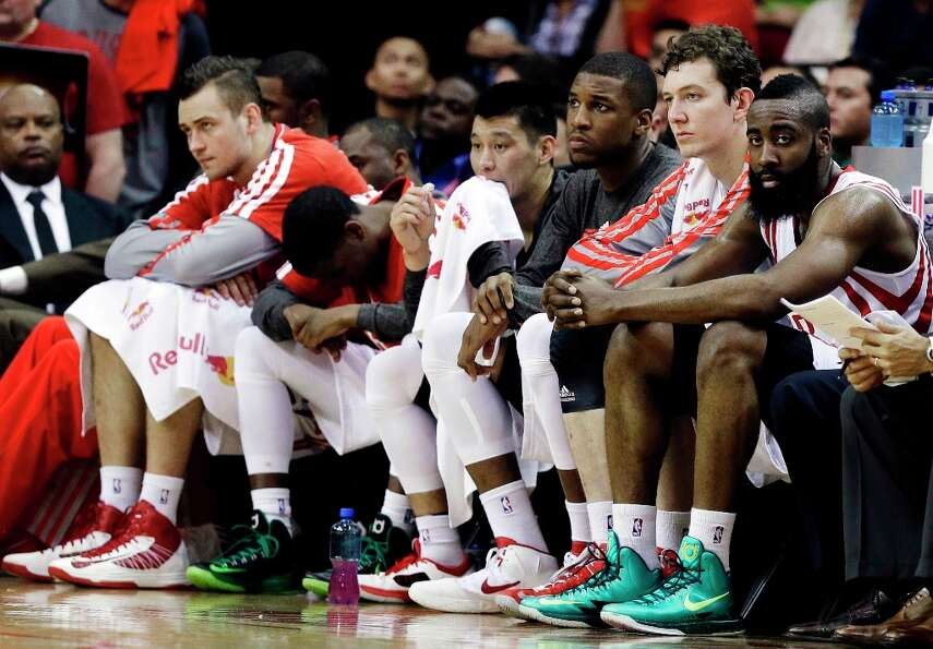 March 17: Warriors 108, Rockets 78The Rockets' bench looks on during th