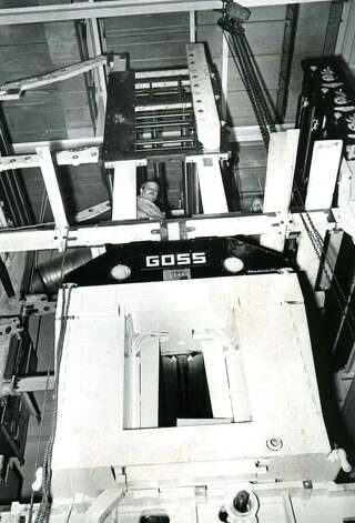 The Times Union's Goss Headliner Mark II press is installed, 1970, in Colonie, N.Y. (Times Union archive)