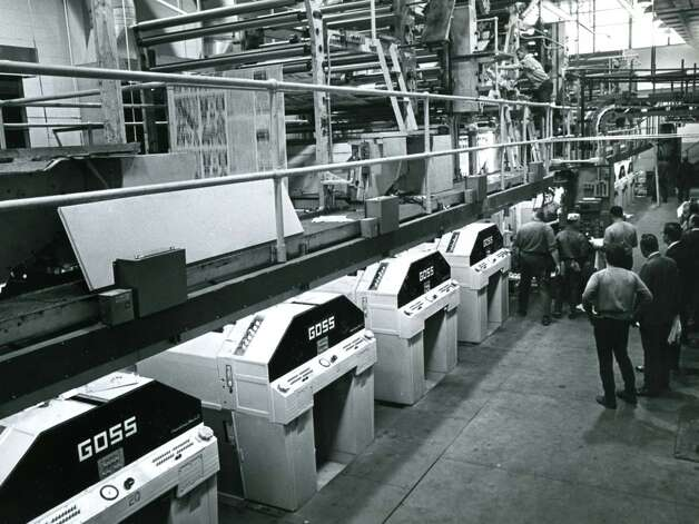 The Times Union's Goss Headliner Mark II press in operation, undated, in Colonie, N.Y. (Times Union archive)