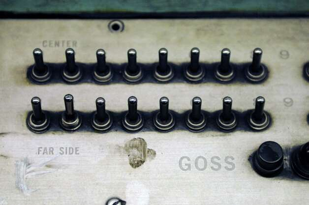 Control panel on the Times Union's Goss Headliner press, early Sunday morning, Feb. 17, 2013, at the Times Union in Colonie, N.Y. The Goss Headliner press was installed in 1970. (Will Waldron/Times Union) Photo: Will Waldron
