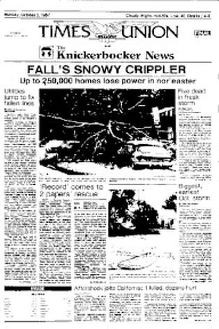 The front page of the Times Union and Knickerbocker News for Monday. Oct. 5, 1987.  It was printed at the Troy Record after a freak snowstorm knocked outr the electrcity at the Times Union's Colonie plant.