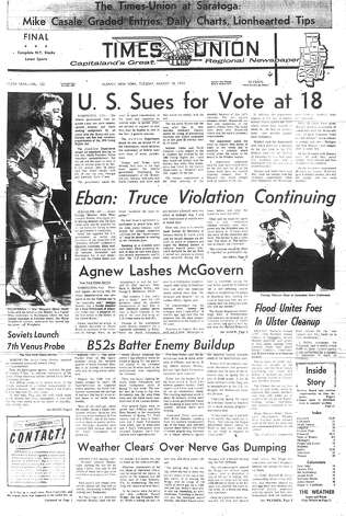 The front page of the Aug. 18, 1970 edition of the Times Union, the daily paper printed in the new Colonie plant on the new Goss Headlines Mark II press. Photo: Press