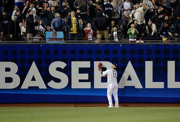 Sho Nakata  of Team Japan watches a two-run home run go into the stands off the bat of Alex Rios #51 of Team Puerto Rico in the seventh inning during the World Baseball Classic Semifinals at AT&T Park on March 17, 2013 in San Francisco, California. Photo: Thearon W. Henderson, Getty Images