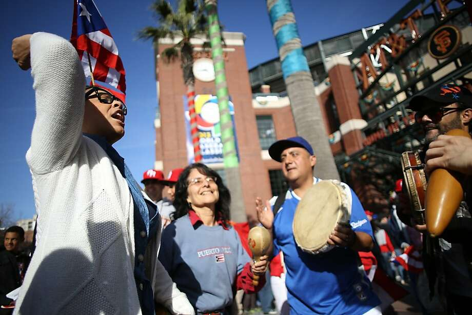 Musicians play outside AT&T ballpark before the start of the World Baseball Classic semi-final game between Puerto Rico and Japan in San Francisco on Sunday, March 17, 2013. Photo: Mathew Sumner, Special To The Chronicle