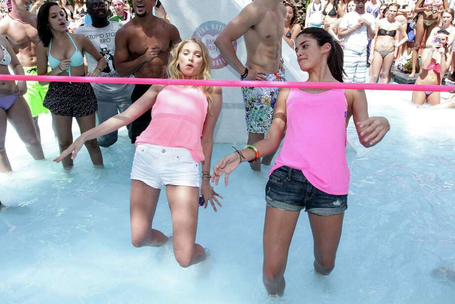 Elsa Hosk and Sara Sampaio attend the Victoria's Secret PINK Ultimate Spring Break Dance Party on March 13, 2013 in Miami Beach, Fla. (Photo by John Parra/WireImage) Photo: John Parra, Getty Images / 2013 John Parra