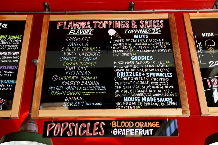 Ice cream flavors and toppings.