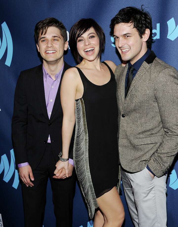 Outstanding Drama Series award nominees Andy Mientus, left, Krysta Rodriguez and Wesley Taylor from NBC's Smash attend the 24th Annual GLAAD Media Awards at the Marriott Marquis on Saturday March 16, 2013 in New York. (Photo by Evan Agostini/Invision/AP) Photo: Evan Agostini, Associated Press / Invision