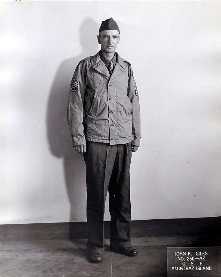 Alcatraz inmate John Giles attempted to escape in 1945.  He spent years piecing together an Army uniform from the Army laundry that was delivered to the docks.  This picture was taken following his capture.  Giles attempted to an escape on a military launch. Photo: National Archives