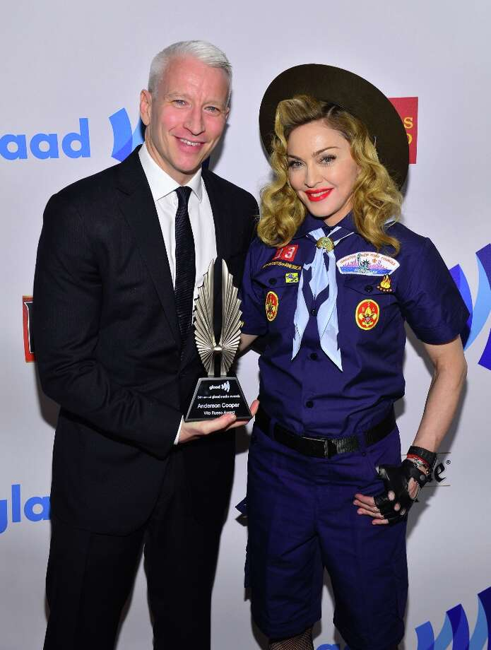 Anderson Cooper and Madonna poses backstage at the 24th Annual GLAAD Media Awards on March 16, 2013 in New York City. Photo: Larry Busacca, Getty Images For GLAAD / 2013 Getty Images