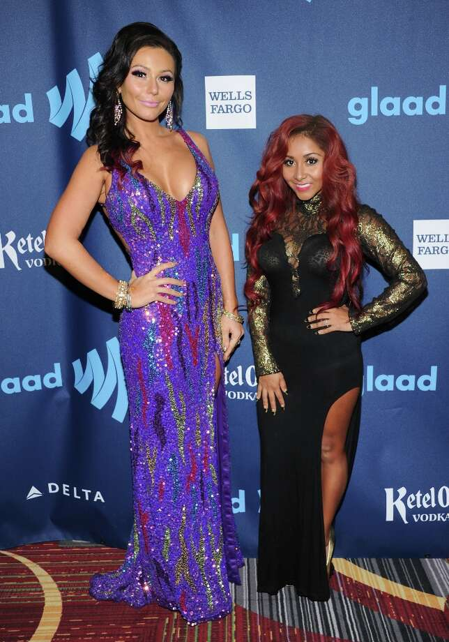 Television personalities Jenni JWoww Farley, left, and Nicole Snooki Polizzi attend the 24th Annual GLAAD Media Awards at the Marriott Marquis on Saturday March 16, 2013 in New York. (Photo by Evan Agostini/Invision/AP) Photo: Evan Agostini, Associated Press / Invision