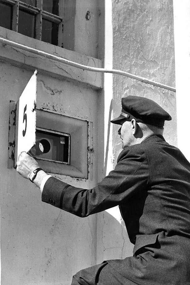Since the 1946 riots, peepholes were installed in the main building so guards could cover it from the outside. Photo: Joe Rosenthal, The Chronicle