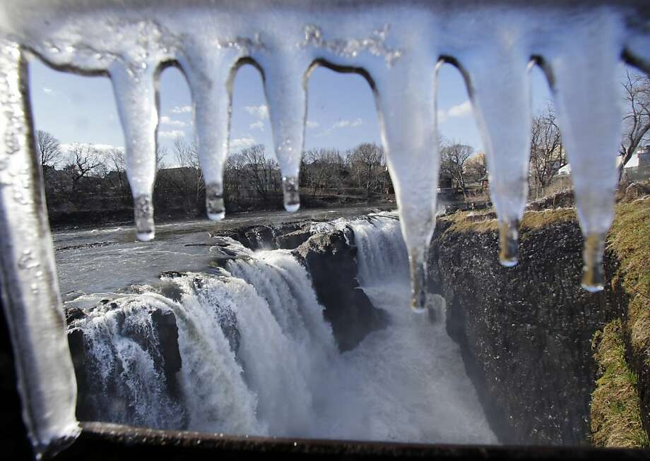 Jaws of the falls: Great Falls in Paterson, N.J., as seen through the teeth of an icicle formation. Photo: Mel Evans, Associated Press