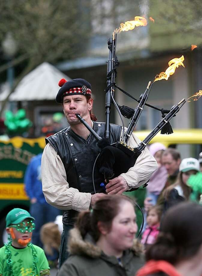 Get the marshmallows! Niall Townley is playing in the the annual St. Patrick's Day Parade in Bremerton, Wash. Photo: Larry Steagall, Associated Press