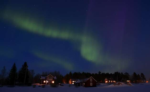 A green glow for St. Paddy's Day: The aurora borealis puts on a show at twilight between the towns of Are and Ostersund, Sweden. Photo: Jonathan Nackstrand, AFP/Getty Images