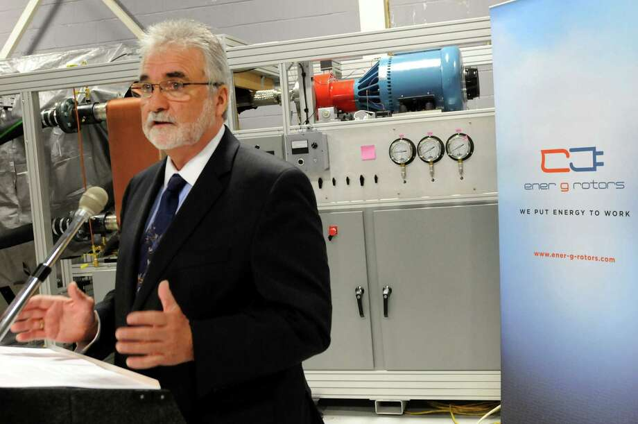 Michael Newell, CEO of Ener-G-Roters, talks about being the recipient of an Angel investment during a news conference on Tuesday, Nov. 15, 2011, at Ener-G-Rotors in Rotterdam, N.Y. (Cindy Schultz / Times Union archive) Photo: Cindy Schultz / 00015407A