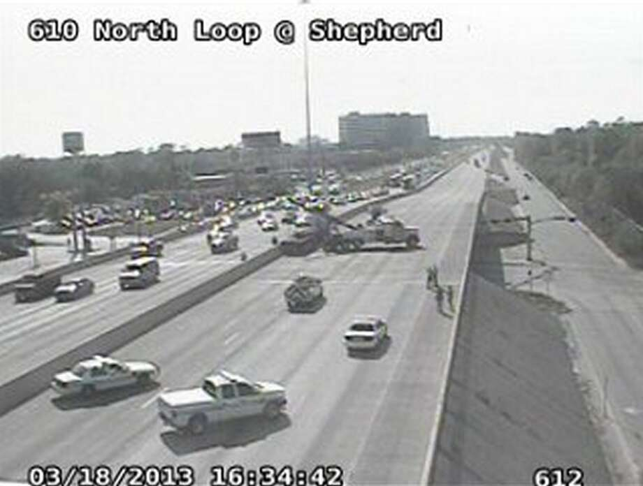All westbound lanes of the 610 North Loop were closed at Shepherd Monday afternoon after an accident involving a truck, Houston Transtar reports. (Transtar)