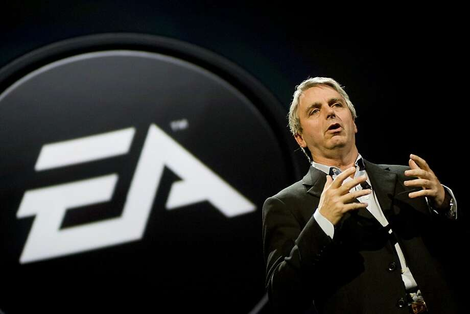 Electronic Arts says CEO John Riccitiello, seen speaking in 2010, will leave his job March 30. Photo: Michal Czerwonka, Getty Images