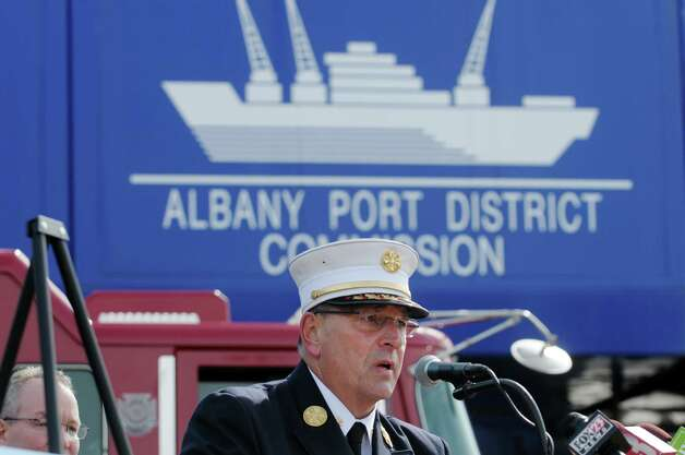 Albany Fire Department chief, Robert Forezzi, addresses those gathered for a press event at the  Port of Albany on Monday, March 18, 2013 in Albany, NY.  The press conference was held to announce that the Albany Fire Department would be purchasing a rescue boat to be used at the port and the area communities.  (Paul Buckowski / Times Union) Photo: Paul Buckowski