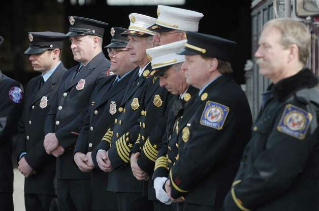 Members of the Albany Fire Department and the City of Rensselaer Fire Department take part in a press event at the  Port of Albany on Monday, March 18, 2013 in Albany, NY.  The press conference was held to announce that the Albany Fire Department would be purchasing a rescue boat to be used at the port and the area communities.  (Paul Buckowski / Times Union) Photo: Paul Buckowski