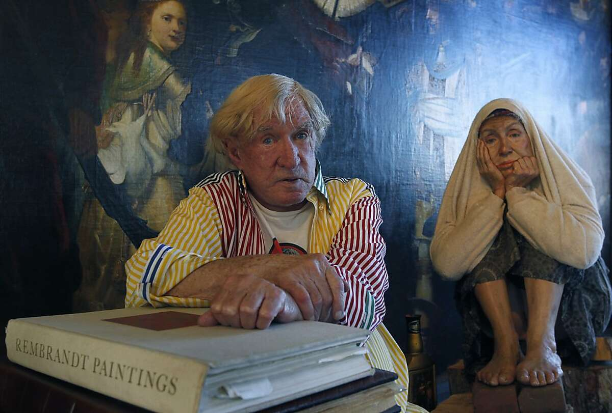 Bob Pritikin sits with a lifelike sculpture of a homeless woman, by artist Marc Sijan, at his Pritikin Museum and home in San Francisco, Calif. on Friday, Feb. 15, 2013.