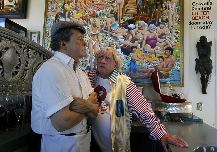 Bob Pritikin with a lifelike sculpture from his collection. Photo: Paul Chinn, The Chronicle