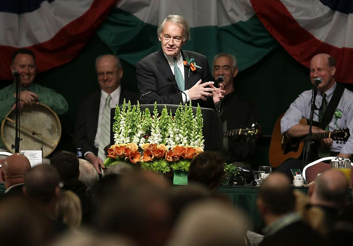 United States Rep. Ed Markey, D-Mass., center, jokes with the crowd during the annual St. Patrick's Day breakfast in Boston's South Boston neighborhood, Sunday, March 17, 2013. Markey is a Democratic hopeful for the U.S. Senate to fill the seat left vacant by the former senior Senator from Massachusetts John Kerry. Kerry left the seat to become U.S. Secretary of State. (AP Photo/Steven Senne)