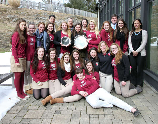 The Gunnery's girls varsity hockey team won the Division II New England Championship with a 4-2 victory over Millbrook School on March 3. The team is pictured with Head of School Peter Becker, head coach Harry Geary and assistant coaches Kate Marek and Hugh Caldera. Team members include: Isabela Bagi (Branford), Sarah Bloom (North Adams, Mass.), Dana Cerone (Ridgefield), Alyssa Cooke (Ellington), Caitlyn Darosa (Madison), Morgan Dow (Branford), Jacqueline Hagopian (South Kingstown, R.I.), Jamie Hayden (Boothwyn, Pa.), Sarah Hughson (Moodus), Jo-Anna Jacobs (Kahnawake Que.), Meghan Lembo (Southington), Brittney Longo (Terryville), Kayla Meneghin (Clifton, N.J.), Jocelyn Mongillo (Shelton), Katlyn Paiva (Rehoboth, Mass.), Katherine Quinlan (Branford), Amanda Sabia (Freehold, N.J.), Josephine Staebler (Cheshire), Charlotte Stevens (Ithaca, N.Y.), Erin Sullivan (Verona, N.J.) and Samantha Walther (Gambrill, Md.). Gillian Horn (Bronxville, N.Y.) is the team manager. Photo: Contributed Photo / The News-Times Contributed