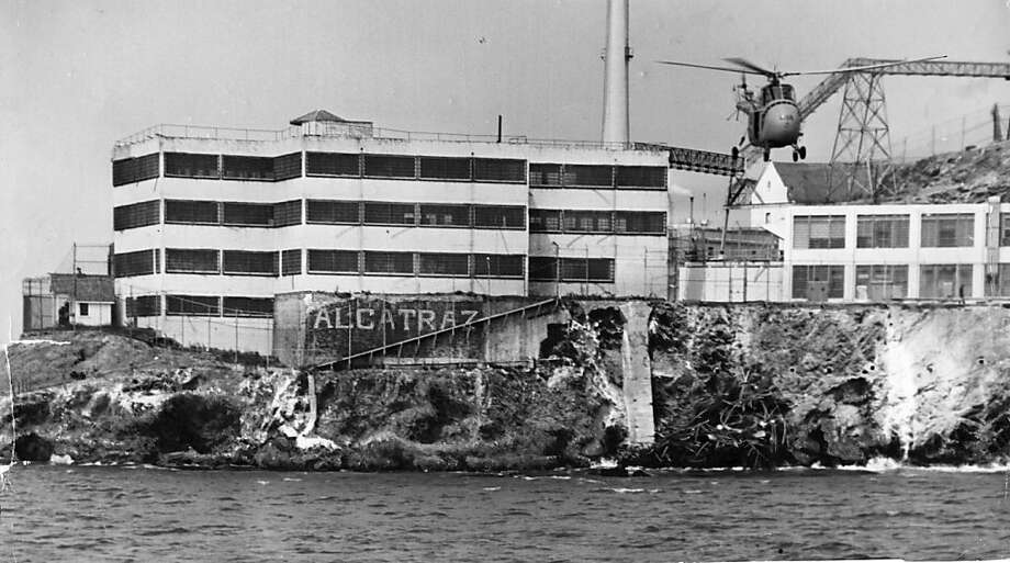 A coast guard helicopter flies over Alcatraz on Jun 13, 1962, after the escape of three prisoners from Alcatraz. Photo: Joe Rosenthal