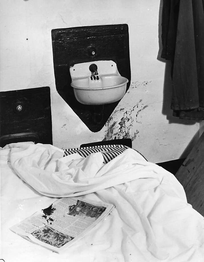 This blood-splattered cell was where rioting convicts held several Alcatraz penitentiary guards hostage during the early hours of the attempted prison break on May 2, 1946.  The convicts shot and beat their hostages.  The rioting ended with two guards dead, one if them in this cell.  Three convicts, Bernard Coy, a bank robber from Kentucky; Joseph Paul Cretzer, a bank robber from Los Angeles; and Marvin Hobbard, a kidnapper from Tennessee, were killed. Photo: Associated Press
