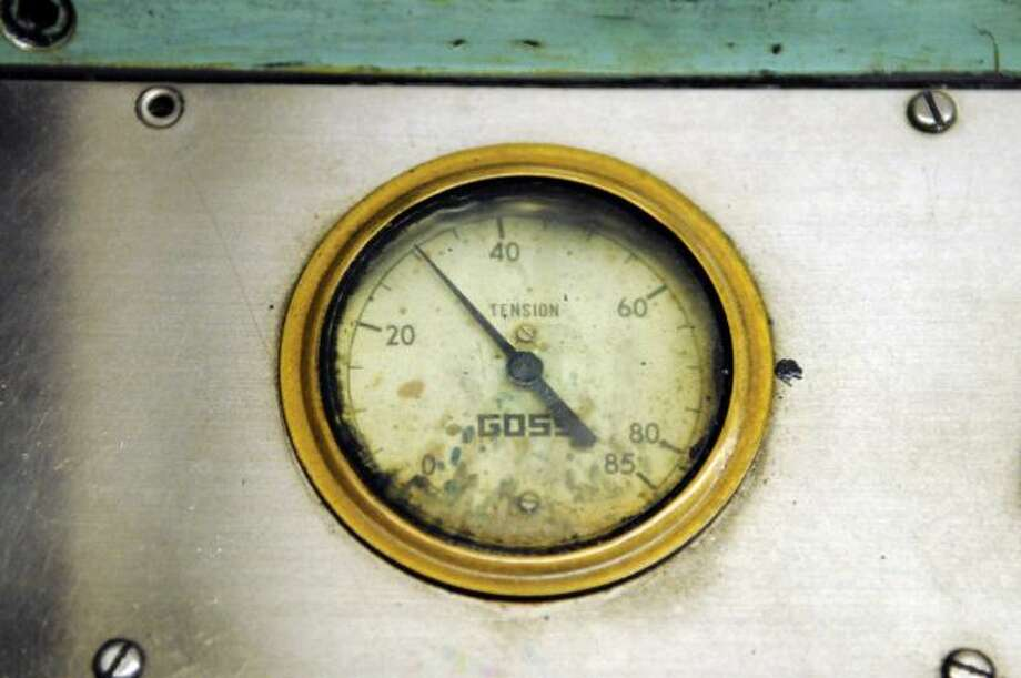 Tension gauge on the Times Union's Goss Headliner press, early Sunday morning, Feb. 17, 2013, at the Times Union in Colonie, N.Y. The Goss Headliner press was installed in 1970. (Will Waldron/Times Union)
