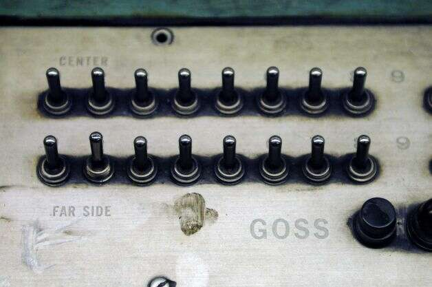 Control panel on the Times Union's Goss Headliner press, early Sunday morning, Feb. 17, 2013, at the Times Union in Colonie, N.Y. The Goss Headliner press was installed in 1970. (Will Waldron/Times Union)
