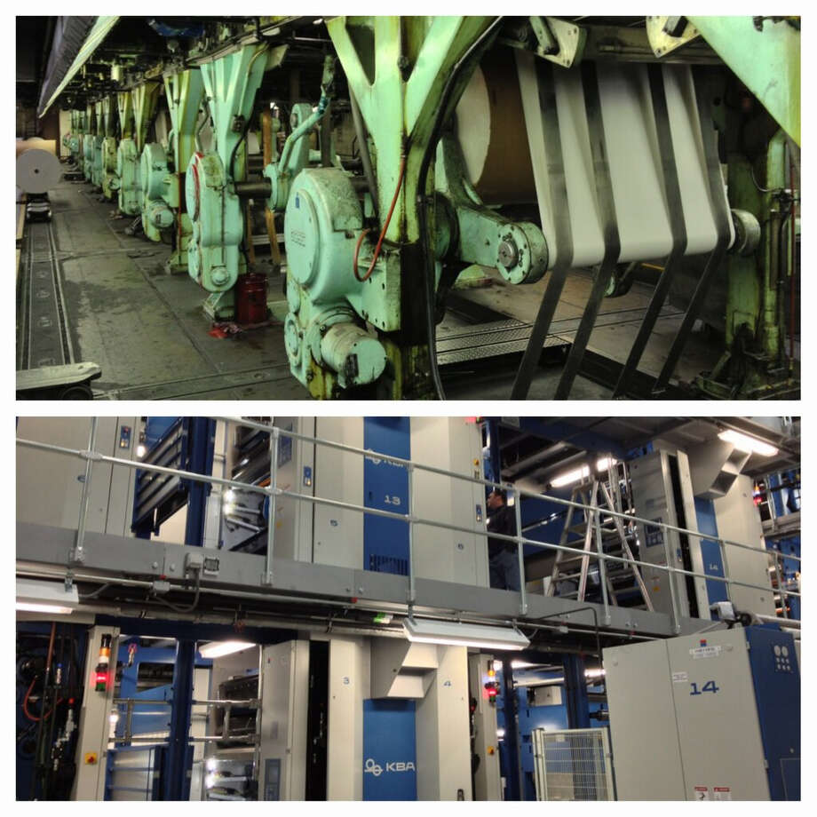 My colleague, Jordan Carleo-Evangelist put together this old/new image of the Times Union's presses.