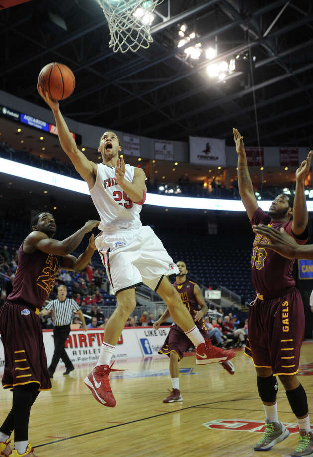 Fairfield's Colin Nickerson drives the ball to the basket during the first half of their MAAC basketball matchup with Iona at the Webster Bank Arena in Bridgeport on Monday, February 18, 2013. Photo: Brian A. Pounds / Connecticut Post